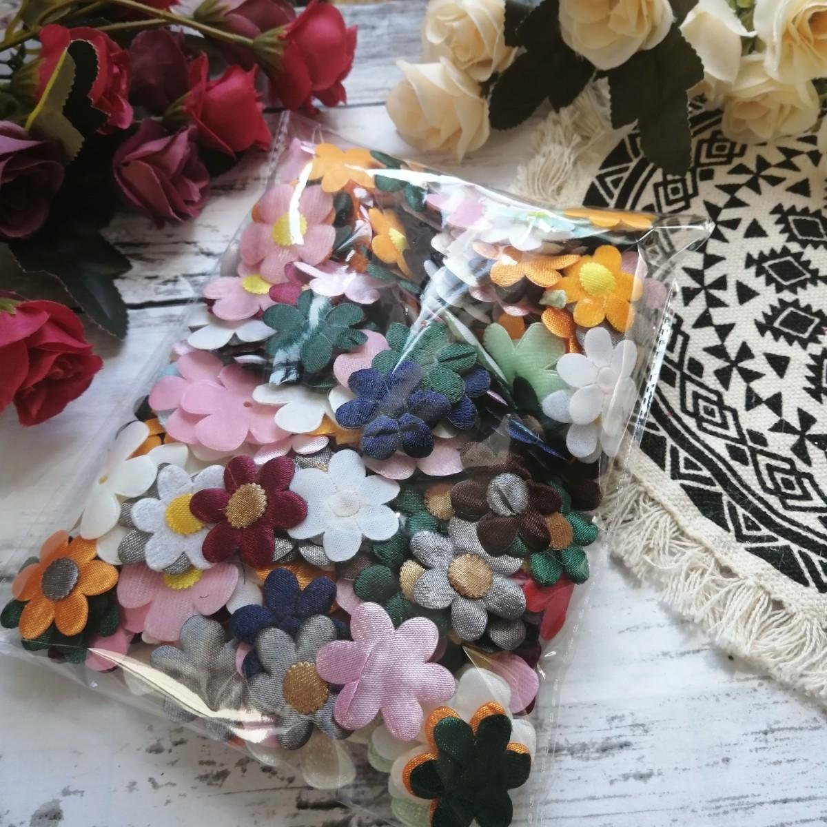 ハンドメイド ワッペン   刺繍 綺麗なワッベン 手作り 花モチーフ 夏休み1