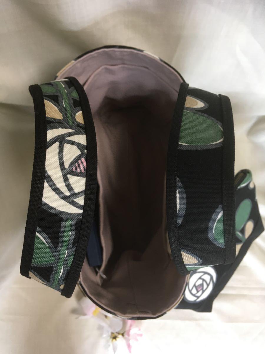 ランチバッグ(トートバッグ)・ポーチのセット(バラW)・マイボトルを持って ハンドメイド ミニトートバッグ