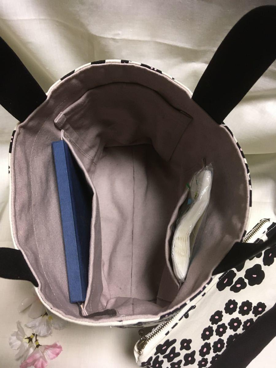 ランチバッグ(トートバッグ)・ポーチのセット(BPフラワー)・マイボトルを持って ハンドメイド ミニトートバッグ