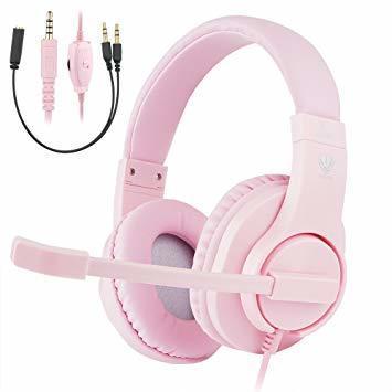 ピンク BlueFire PS4ゲーミング ヘッドセット 高音質 重低音ヘッドフォン 臨場感満ち 高集音性マイク付 SONY P_画像1