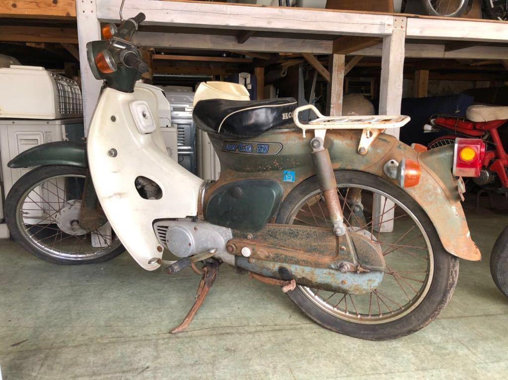 「U-758 ホンダ スーパーカブ デラックス C50型 50cc 車体 バイク 緑 走行距離15,898km 圧縮ありレア レトロ 現状 当店引渡 配達 宮崎 鹿児島」の画像2