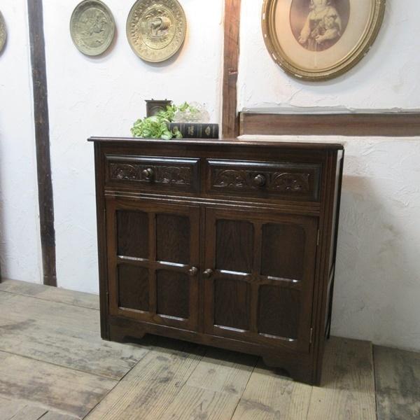 イギリス アンティーク 家具 サイドボード キャビネット 飾り棚 花台 収納 店舗什器 木製 オーク 英国 SIDEBOARD 6027c_画像1