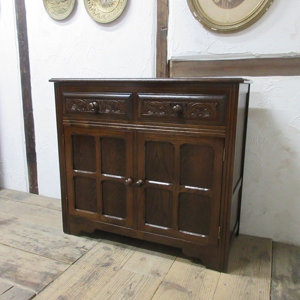 イギリス アンティーク 家具 サイドボード キャビネット 飾り棚 花台 収納 店舗什器 木製 オーク 英国 SIDEBOARD 6027c_画像3
