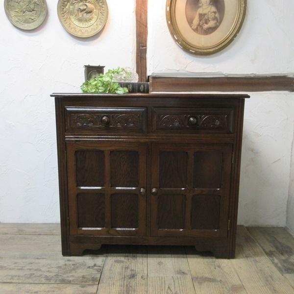 イギリス アンティーク 家具 サイドボード キャビネット 飾り棚 花台 収納 店舗什器 木製 オーク 英国 SIDEBOARD 6027c_画像2