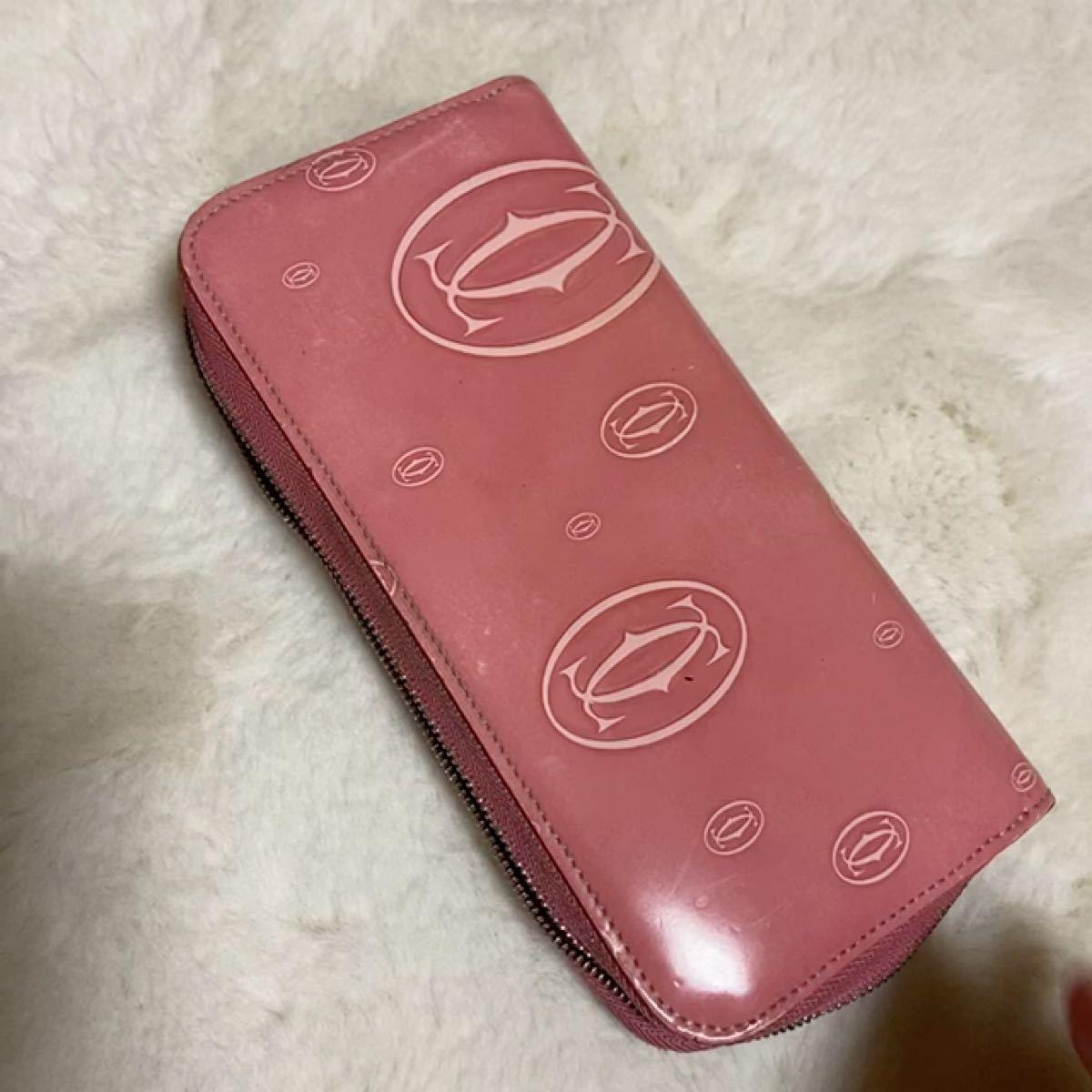 カルティエ 長財布 ラウンドファスナー Cartier ピンク ジッピーウォレット