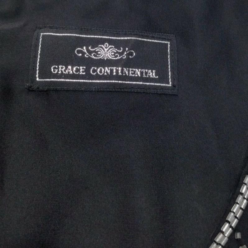 グレースコンチネンタル ワンピース ビジュー 黒ドレス パーティー 結婚式 シルク100 黒