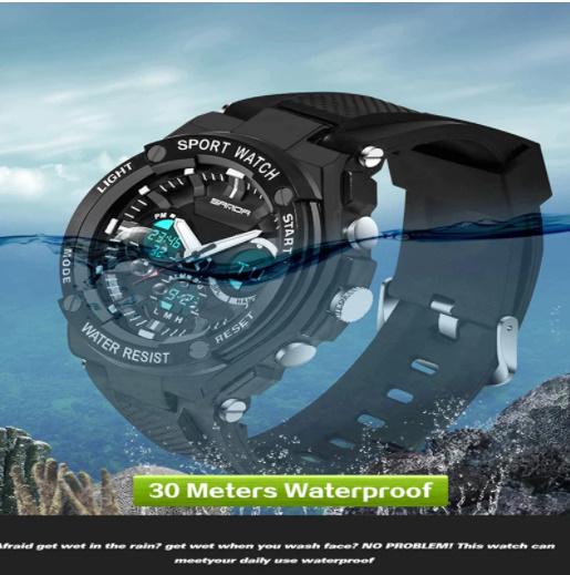 【スポーツメンズ腕時計】男性 SANDA デジタル 多機能 ストップウォッチ 5色 アラーム 24時間形式 防水_画像5