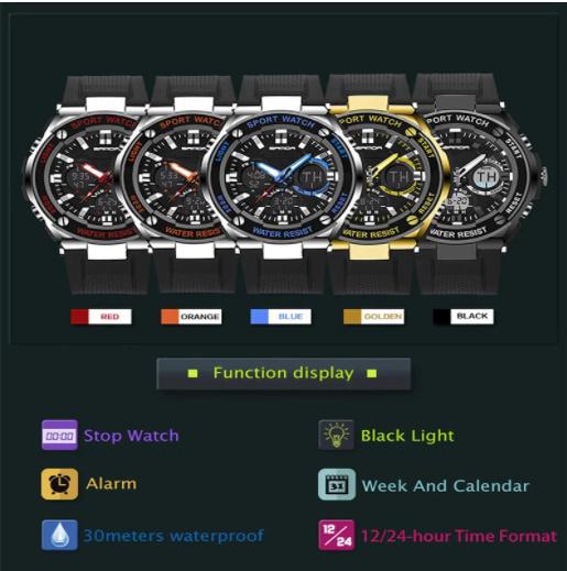 【スポーツメンズ腕時計】男性 SANDA デジタル 多機能 ストップウォッチ 5色 アラーム 24時間形式 防水_画像4