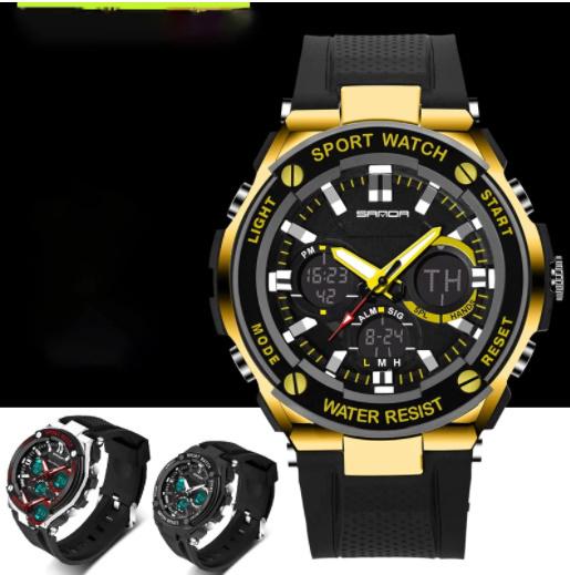 【スポーツメンズ腕時計】男性 SANDA デジタル 多機能 ストップウォッチ 5色 アラーム 24時間形式 防水_画像2