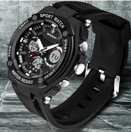 【スポーツメンズ腕時計】男性 SANDA デジタル 多機能 ストップウォッチ 5色 アラーム 24時間形式 防水_画像6