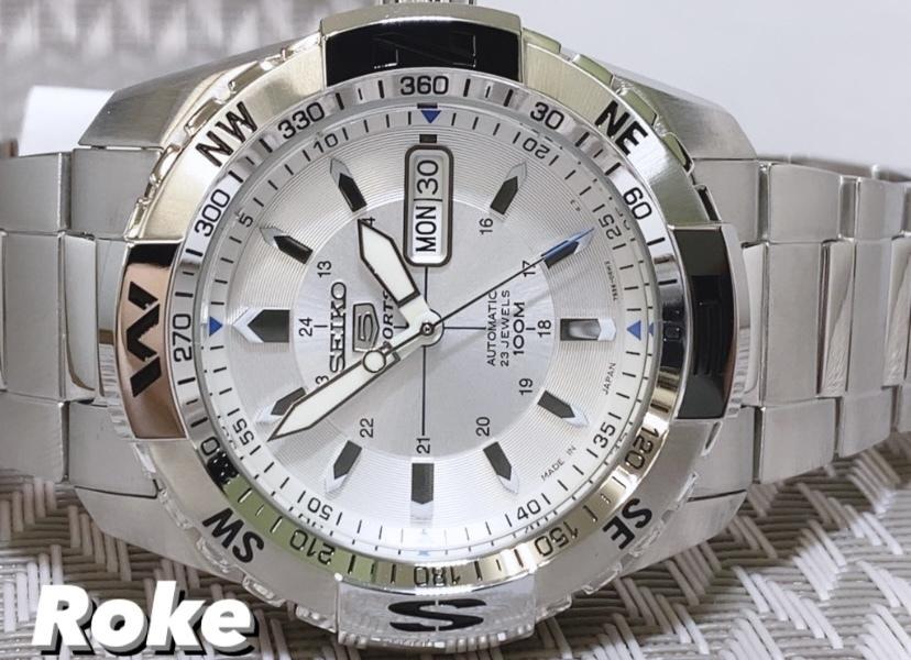 新品 SEIKO5 セイコー5スポーツ 自動巻き 機械式 腕時計 カレンダー シースルーバック SNZJ03J1 方位計付両回転ベゼル 安心の日本製 メンズ