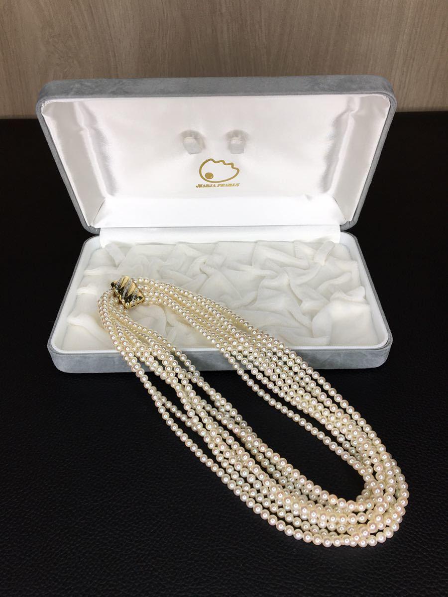 未使用 MARIA PEARLS マーリアパール 8連 パールネックレス 真珠 3.5mm K14 585 40cm 本
