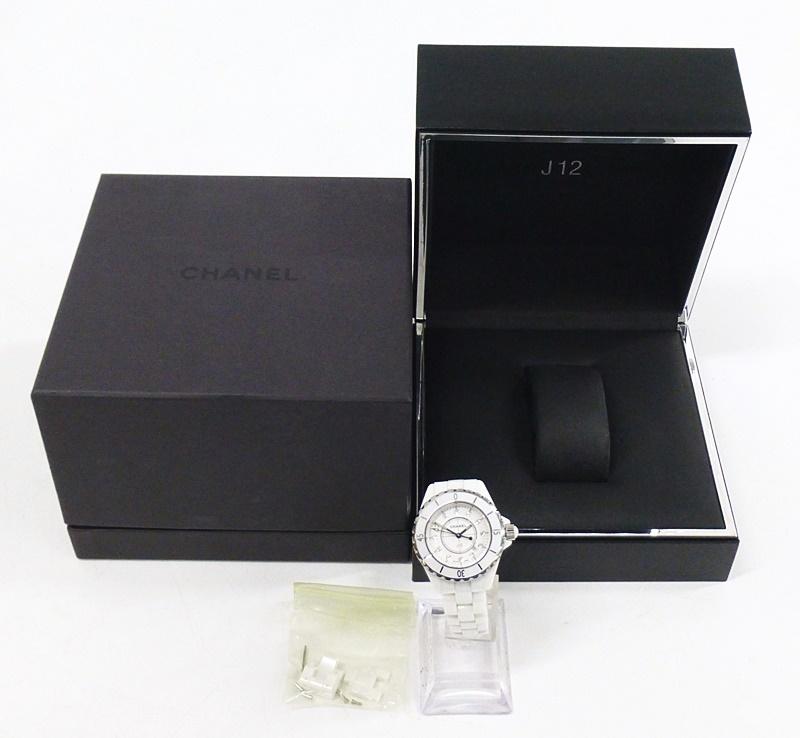 01 00-400022-00 ◎ [S] CHANEL シャネル J12 セラミック ダイヤ 腕時計 レディース クォ