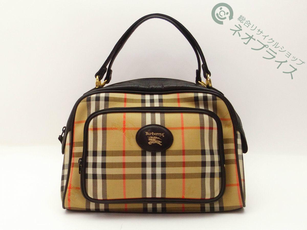 ◆S7376 BURBERRY バーバリー ノバチェック柄 ハンド バッグ