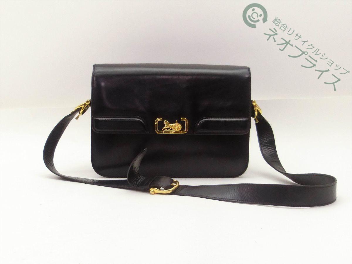 ◆Z9161 CELINE セリーヌ 馬車金具 レザー ショルダー バッグ