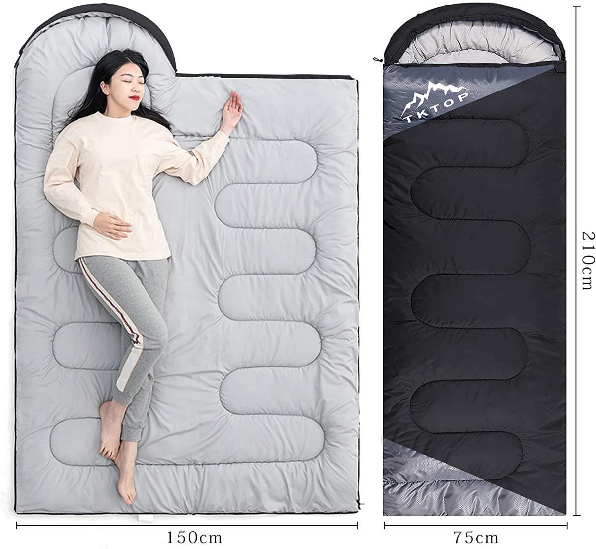 寝袋 封筒型 軽量 保温 210T防水シュラフ 収納パック付き 1kg ブラック