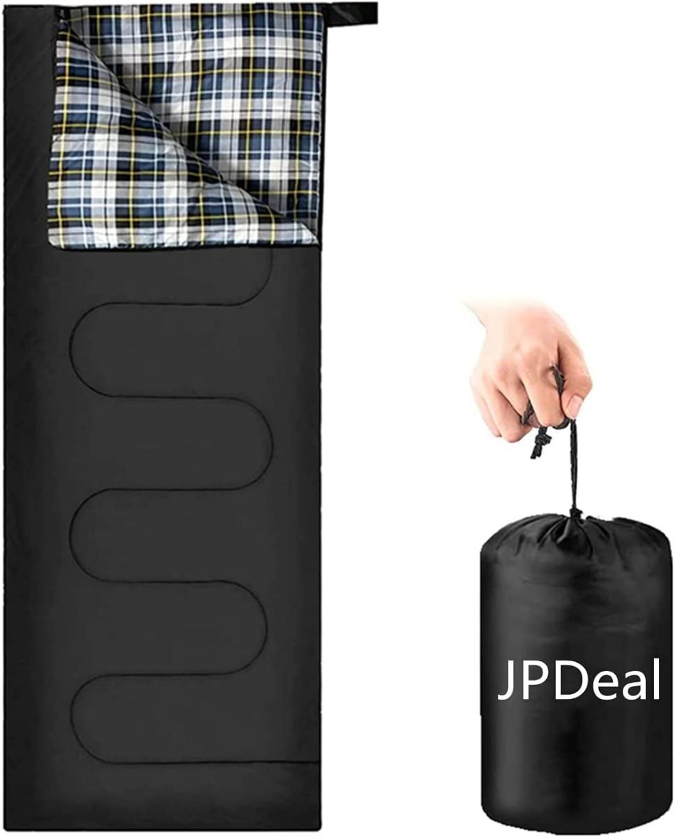 寝袋 シュラフ シュラフカバー 防水 保温 軽量 封筒型 ブラック