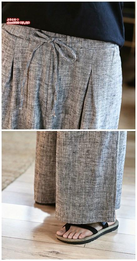 サルエルパンツ 夏 メンズ リネンパンツ ワイドパンツ ゆったり 綿麻 チノパン ロングパンツ ストライブ柄 大きいサイズ有りM~3XL選択_画像5