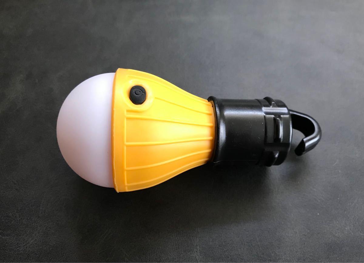 アウトドア ポータブルLEDランプ 電球型キャンプライト 防水 3個未使用アルカリ電池付