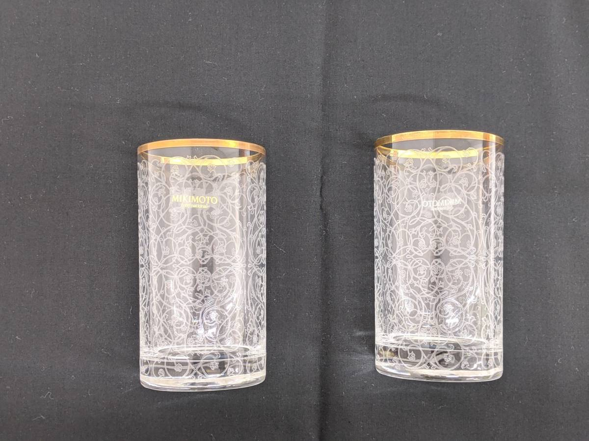 |MIKIMOTO ミキモト ペアグラス ガラス コップ グラス マドラー付き パール付き リボンマ…