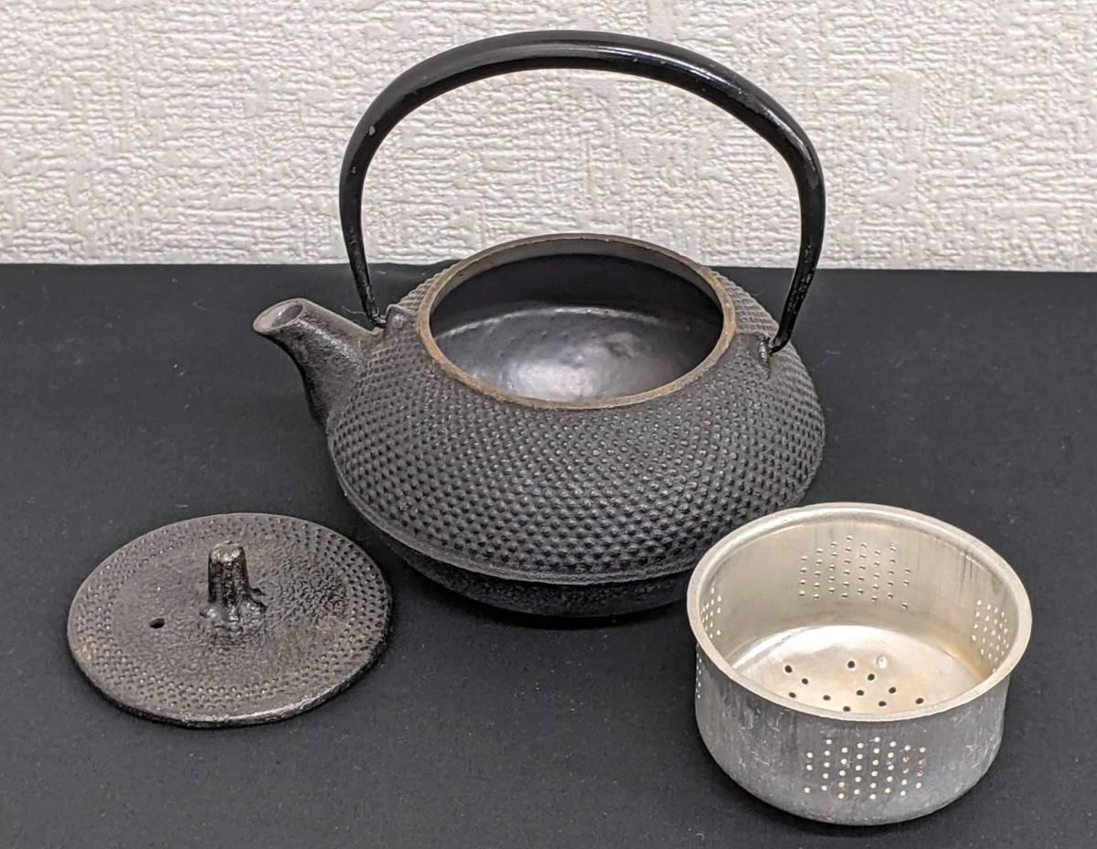 |南部鉄 鉄瓶 急須 0.3L 丸アラレ 茶道具 中古 茶器 工芸品