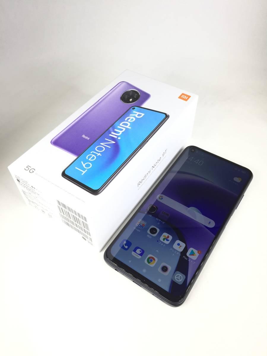 【極美品】Xiaomi SoftBank Redmi Note 9T ナイトフォールブラック 4GB 64GB A001XM 〇判定 SIMフリー 付属品あり スマホ