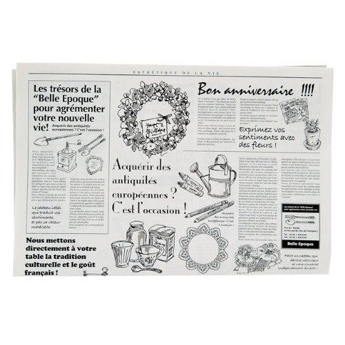 フランスの新聞紙風プリント お花やプレゼント,ギフト商品のラッピングに! 仏字・英字 包装紙 100枚 【ノーブランド】_画像2
