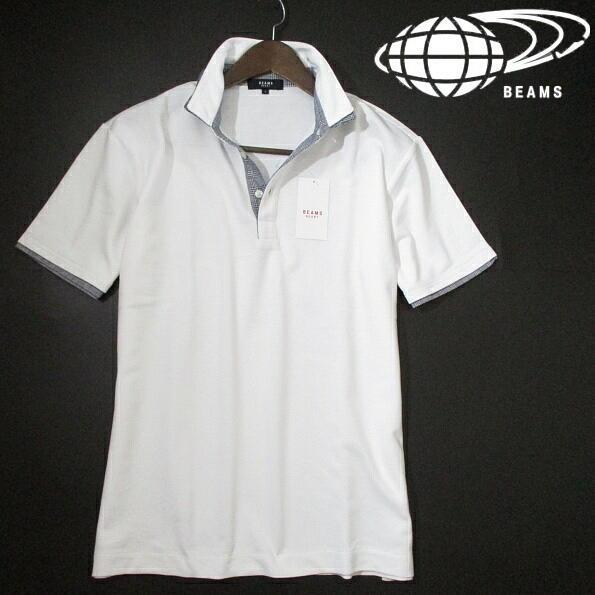 新品▼ ビームス 半袖ポロシャツ 二重衿 2枚衿 レイヤード 鹿の子 白 グレンチェック BEAMS Lサイズ ホワイト ピケ