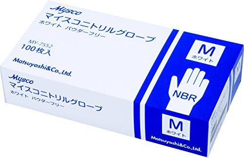 M 使い捨て手袋 ニトリルグローブ ホワイト 粉なし 100枚入り 病院採用商品 マツヨシ(松吉医科器械)_画像1