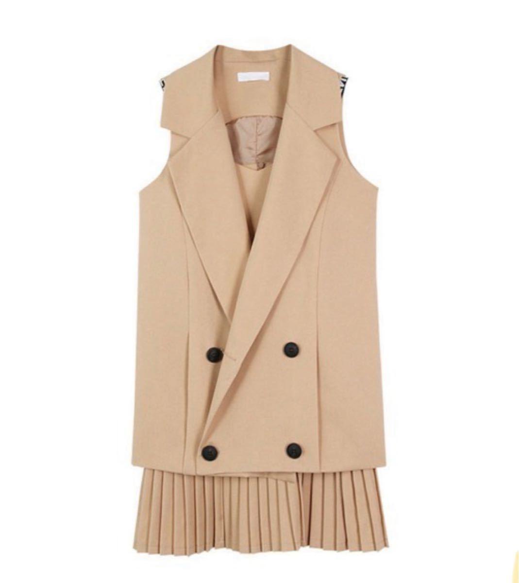 ジャケット テーラードジャケット おしゃれスタ すっきりシンプルノースリーブジャケット プリーツスカート セットアップ