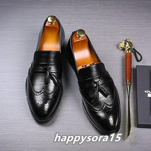 ローファー メンズ スリッポン タッセル ブローグ ビジネスシューズ ドライビングシューズ 紳士靴 ローカット ブラック 25cm_画像1