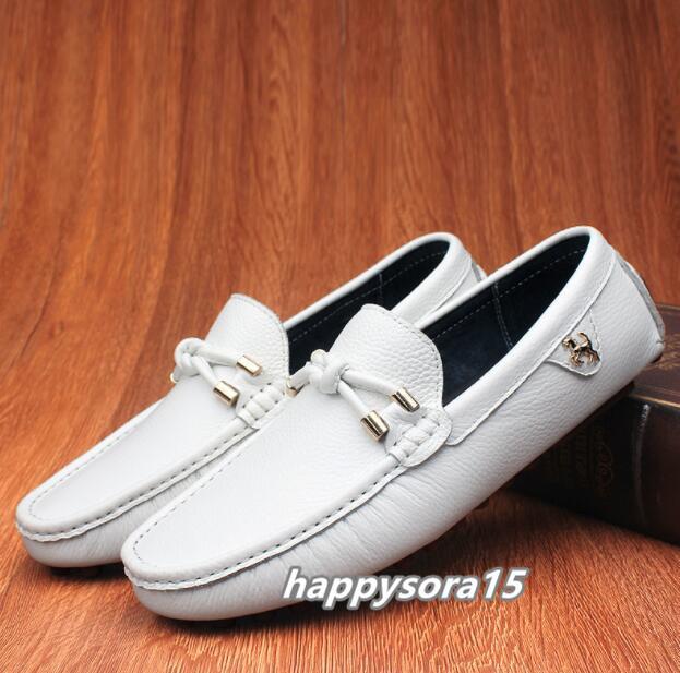ローファー メンズ スリッポン ビジネス ドライビングシューズ 靴カジュアル 通気 夏用 ホワイト  26cm_画像1