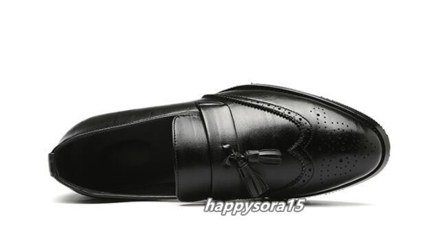 ローファー メンズ スリッポン タッセル ブローグ ビジネスシューズ ドライビングシューズ 紳士靴 ローカット ブラック 25cm_画像6