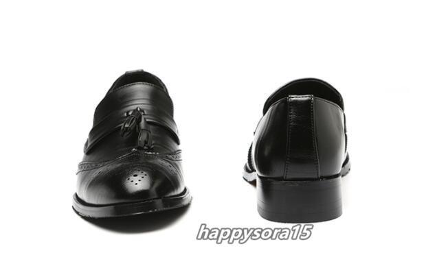 ローファー メンズ スリッポン タッセル ブローグ ビジネスシューズ ドライビングシューズ 紳士靴 ローカット ブラック 25cm_画像7