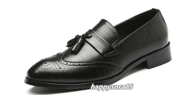 ローファー メンズ スリッポン タッセル ブローグ ビジネスシューズ ドライビングシューズ 紳士靴 ローカット ブラック 25cm_画像5