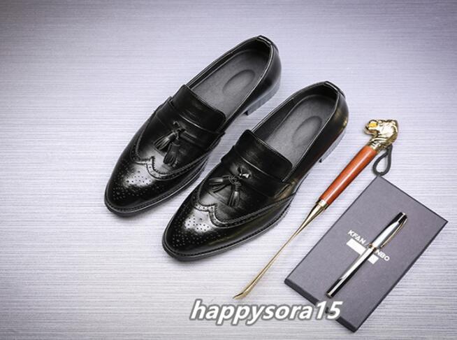 ローファー メンズ スリッポン タッセル ブローグ ビジネスシューズ ドライビングシューズ 紳士靴 ローカット ブラック 25cm_画像2
