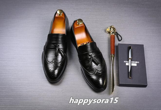 ローファー メンズ スリッポン タッセル ブローグ ビジネスシューズ ドライビングシューズ 紳士靴 ローカット ブラック 25cm_画像3