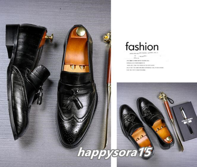 ローファー メンズ スリッポン タッセル ブローグ ビジネスシューズ ドライビングシューズ 紳士靴 ローカット ブラック 25cm_画像4