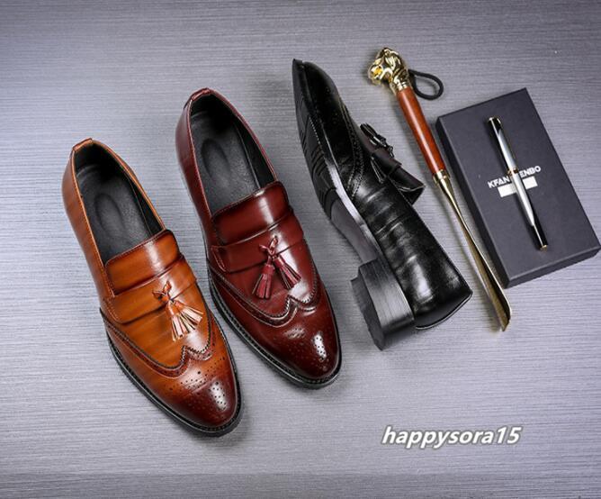 ローファー メンズ スリッポン タッセル ブローグ ビジネスシューズ ドライビングシューズ 紳士靴 ローカット ブラック 25cm_画像9