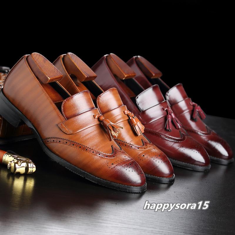 ローファー メンズ スリッポン タッセル ブローグ ビジネスシューズ ドライビングシューズ 紳士靴 ローカット ブラック 25cm_画像8