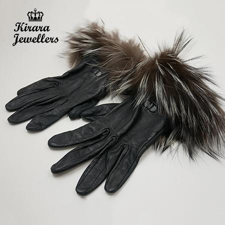 美品【Christian Dior クリスチャンディオール】 グローブ 手袋 レザー ファー ブラック 上品 レディース