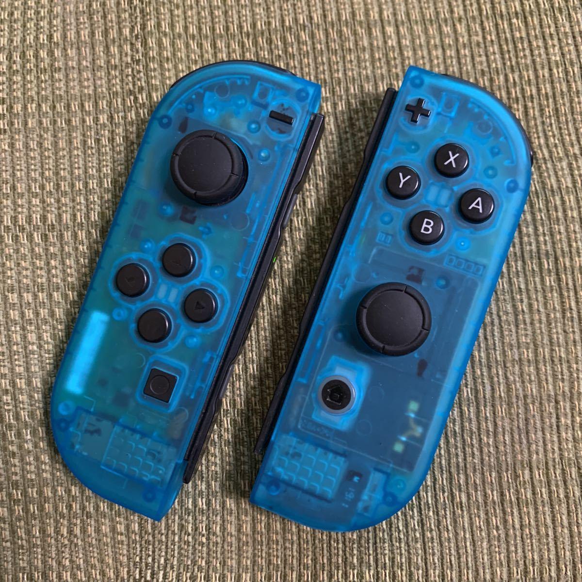 動作確認済み Nintendo Switch Joy-Con スケルトン ブルー 水色 2個セット 左右 LR +- ニンテンドースイッチジョイコン コントローラー