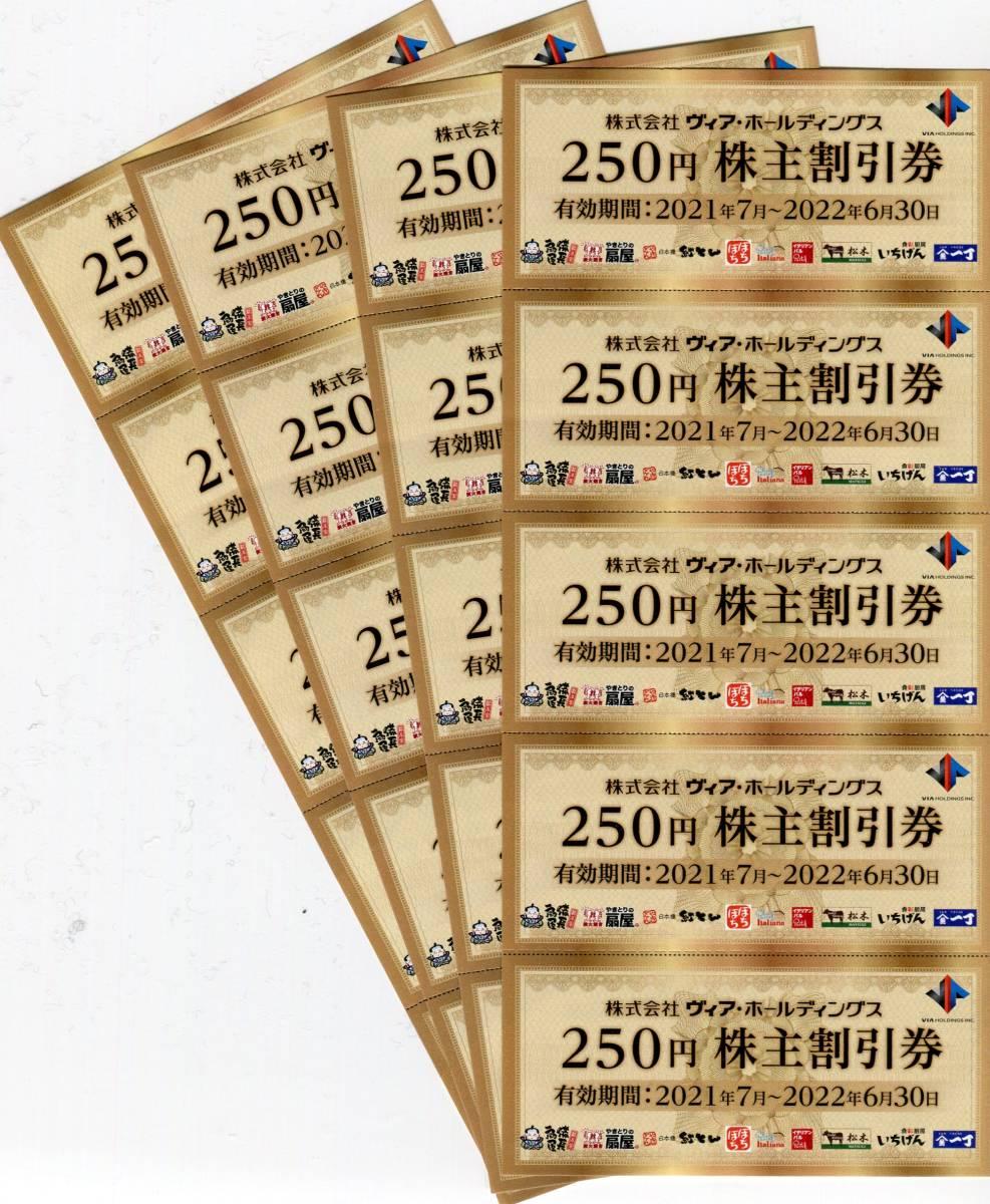 最新■ヴィアホールディングの株主様優待券 5,000円分(額面250円券×20枚)■有効期限:2022年6月30日まで_画像1