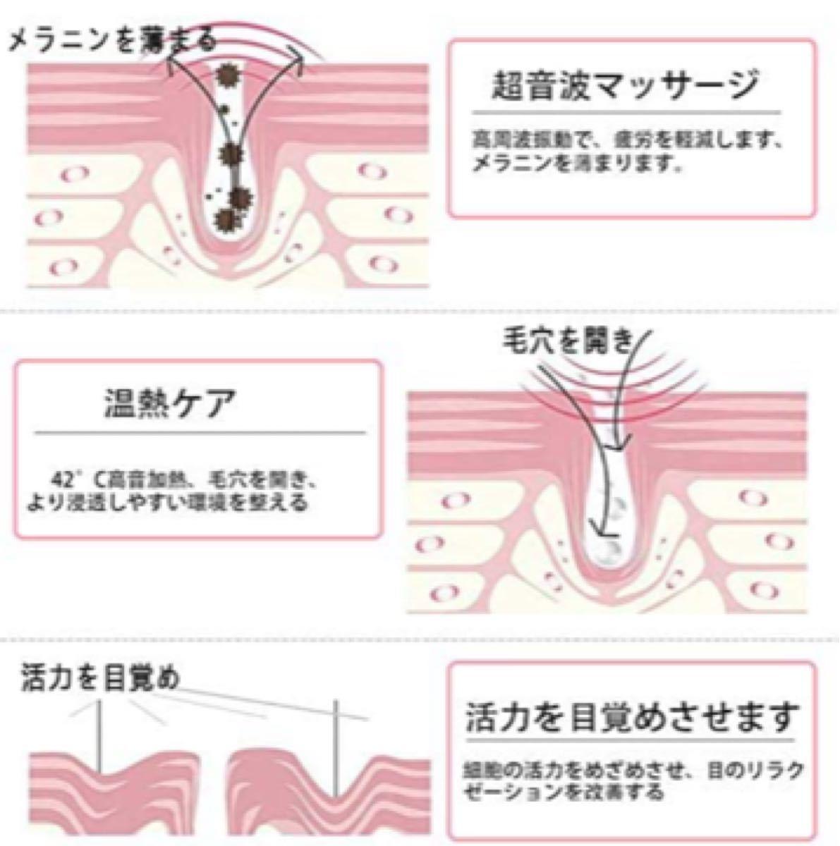 超音波美顔器 目元ケア イオン導入 温熱マッサージ 眼精疲労に
