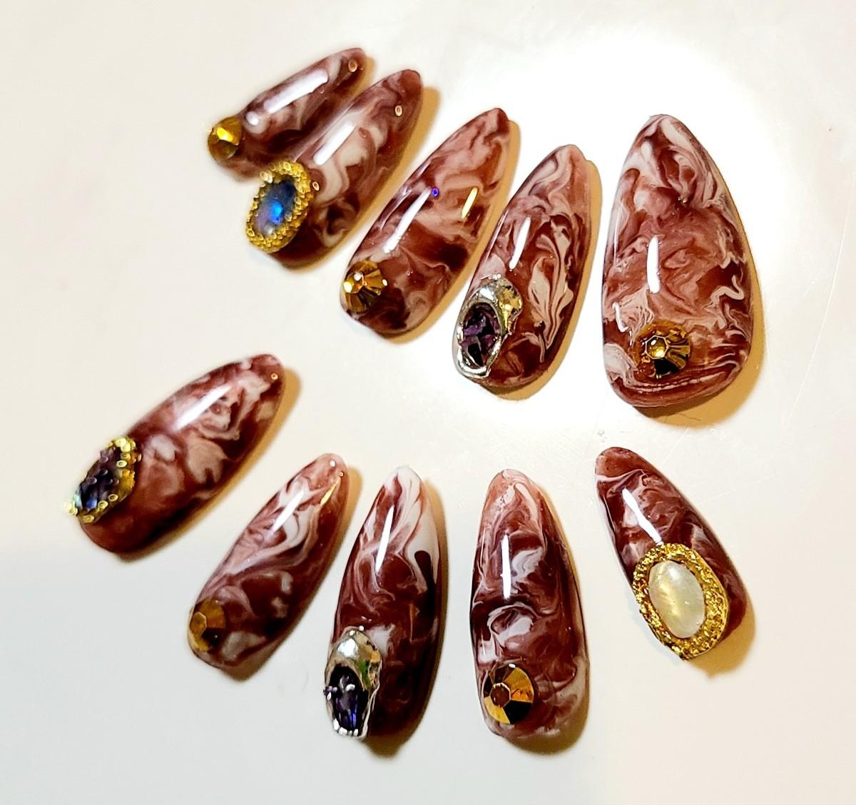 ネイルチップ ブラウン ホワイト チョコレート マーブル シェルパーツ ミディアム スキニー ポイント アーモンド ネイル