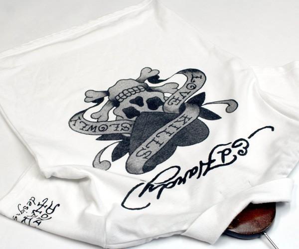 エドハーディー Ed Hardy スカル×ロゴプリント 半袖ポロシャツ サイズM 0714c_画像2