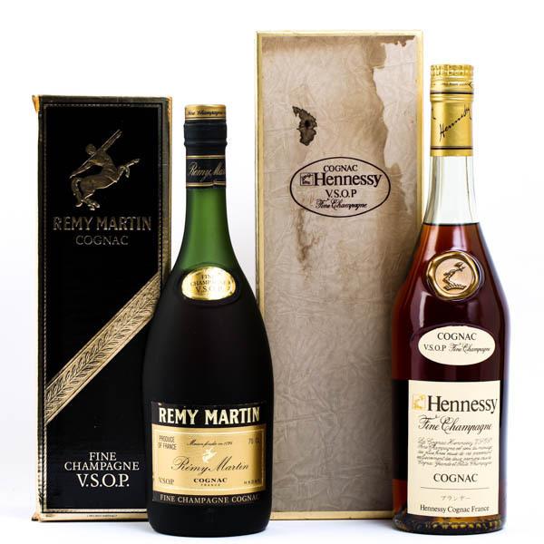 Hennessy ヘネシースリムボトル REMY MARTIN レミーマルタン VSOP ブランデー コニャック 700ml×2本セット 箱付 #3988