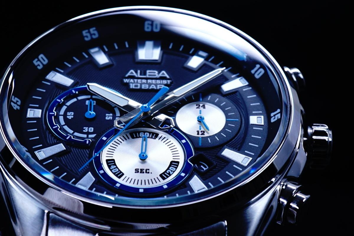 1円×3本SEIKO逆輸入モデル海外機種美しすぎるBLACK10気圧100m防水 クロノグラフ新品 メンズ激レア入手困難アルバ日本未発売ALBA腕時計