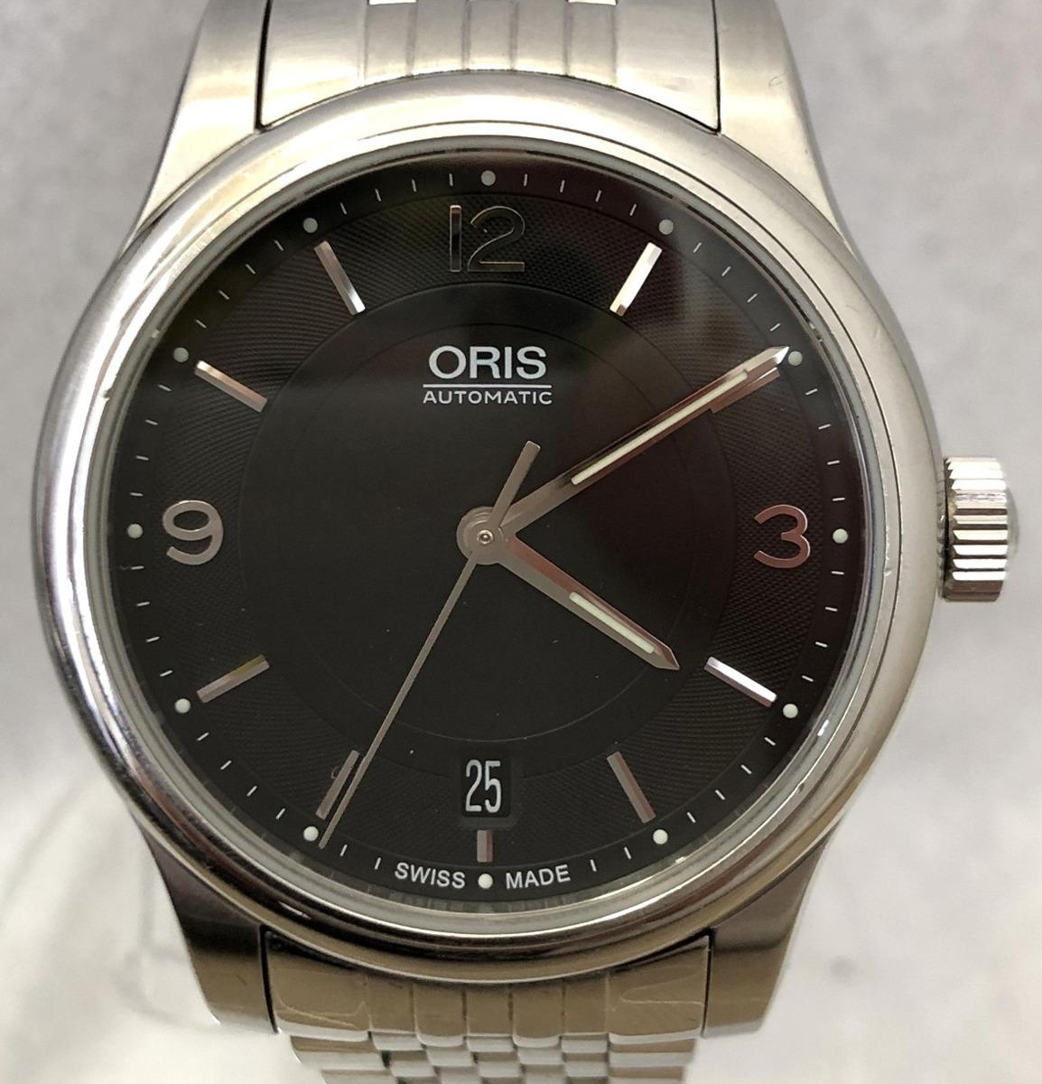 定価15.3万円 美品 ORIS オリス クラシックデイト 自動巻き 腕時計 733 7578 4034M 裏スケ 黒文字盤 メンズ 質屋の質セブン_画像2