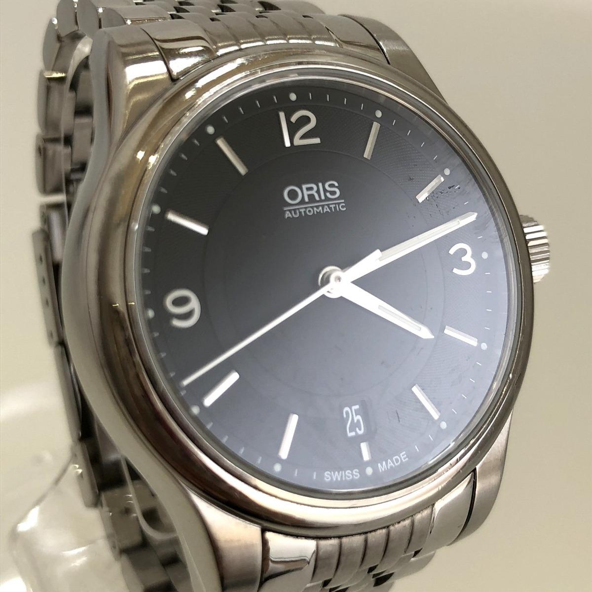 定価15.3万円 美品 ORIS オリス クラシックデイト 自動巻き 腕時計 733 7578 4034M 裏スケ 黒文字盤 メンズ 質屋の質セブン_画像1